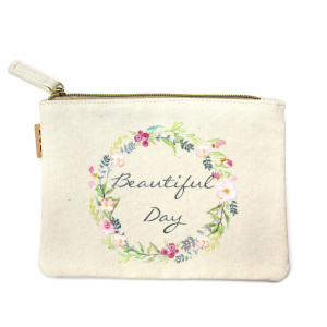 "Eco friendly pouch ""Beautiful Day"". Measures 7"" x 6"" in size. 100% Cotton."