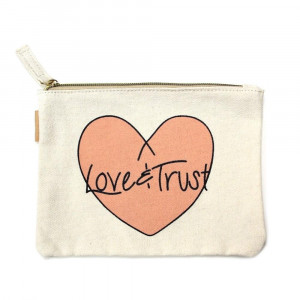 """Eco friendly pouch """"Love & Trust"""". Measures approximately 7"""" x 5"""" in size. 100% Cotton."""