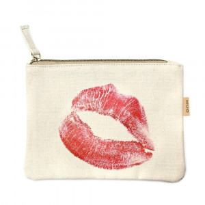 "Canvas zipper pouch with red lips on the front. 100% cotton. Measures 7"" x 6"" in size."