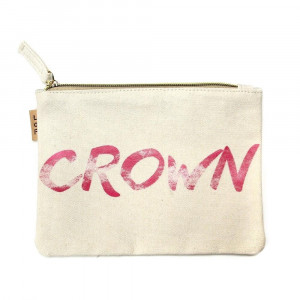 "Canvas zipper pouch ""Grown"". Measures 7"" x 6"" in size. 100% Cotton."