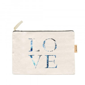"Canvas zipper pouch ""Love"". Measures 7"" x 6"" in size. 100% Cotton."