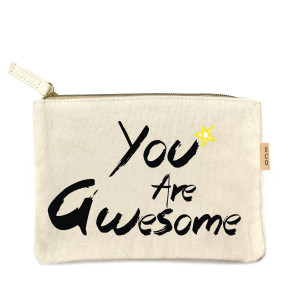 "Canvas zipper pouch ""You Are Awesome"". Measures 7"" x 6"" in size. 100% Cotton."