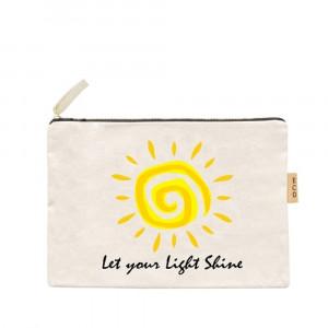 """Canvas zipper pouch """"Let your light shine"""". Measures 7"""" x 6"""" in size. 100% Cotton."""