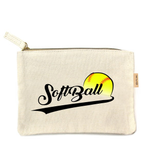 "Canvas zipper pouch ""Softball"". Measures 7"" x 6"" in size. 100% in size."