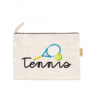 "Canvas zipper pouch ""Tennis"" in cursive. Measures 7"" x 6"" in size. 100% Cotton."
