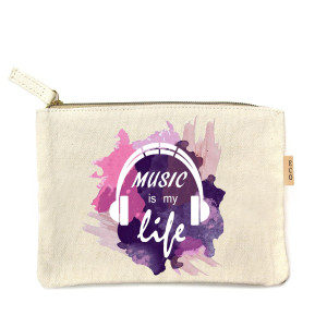 "Canvas zipper pouch ""Music to my life"". Measures 7"" x 6"" in size. 100% Cotton."