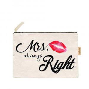 "Canvas zipper pouch ""Mrs always right"". Measures 7"" x 6"" in size. 100% Cotton."