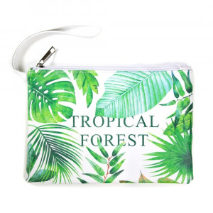 """Faux leather pouch with """"Tropical Forest"""" message, a wristlet strap, top zipper closure and a lined inside. 100% PU leather. Measures 9"""" x 6"""" in size."""