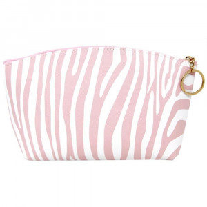 "Faux leather pouch with light pink zebra print, top zipper closure and a lined inside. 100% PU leather. Measures 9"" x 6"" in size."
