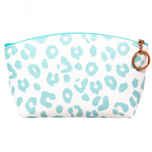 "Faux leather pouch with light blue cheetah print, top zipper closure and a lined inside. 100% PU leather. Measures 9"" x 6"" in size."