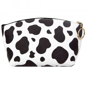 """Faux leather pouch with cow print, top zipper closure and a lined inside. 100% PU leather. Measures 9"""" x 6"""" in size."""