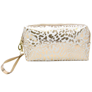 "Animal print zip closure black and gold striped hand bag or makeup bag with wristlet.  Approximate 10 1/2L by 3"" wide. 100% PVC"