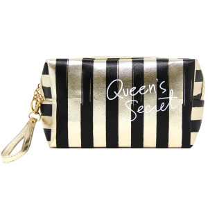 "Queen's secret zip closure black and gold striped hand bag or makeup bag with wristlet.  Approximate 10 1/2L by 3"" wide. 100% PVC."