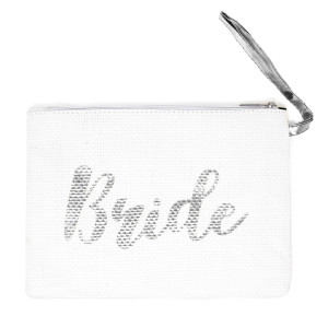 Bride straw handbag with wrist. Approximate 11w X 8L in length. 100% paper.