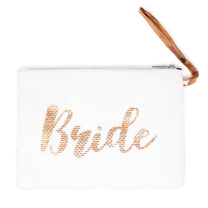 "Bride straw handbag with wrist strap. Approximately 8"" x 11"" in length. 100% paper."