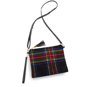 """Tartan crossbody/clutch bag featuring a lined inside pocket detail and zipper closure.  - Approximately 11"""" W x 8.5"""" H - 100% Polyester"""