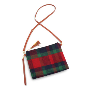 """Plaid crossbody/clutch bag featuring a lined inside pocket detail with a zipper closure.  - Approximately 11"""" W x 8.5"""" H - 100% Polyester"""