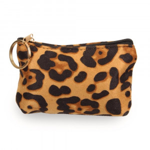 "Leopard print coin/card pouch.  - Approximately 5.5"" W x 4"" H - 100% Polyester"