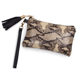 "Python pouch bag with zipper closure tassel detail and detachable wristlet.  - Approximately 8"" W x 5"" H.  - 100% Polyester"
