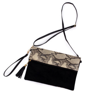 "Python print fold-over crossbody/clutch bag featuring a lined inside zipper pocket detail and zipper closure.  - Approximately 11"" W x 8.5"" H - 100% Polyester"
