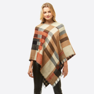 """Multicolor plaid poncho.  - One size fits most 0-14 - Approximately 37"""" in length - 100% Acrylic"""