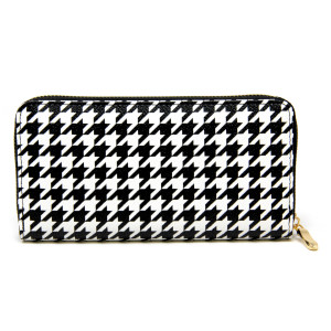 "Faux leather houndstooth long wallet featuring a zipper coin pouch, full-bill and card compartments with zip around closure.  - Approximately 7.5"" W x 4"" T - 100% PU"