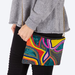 """High quality seed beaded tulip bulb print handbag.  - Zipper closure - One inside open pocket - Inside lining 100% Cotton - Approximately 10.5"""" W x 7"""" T - Strap approximately 52"""" L - Approximately 62"""" L overall - 40% Seed beads, 40% Cotton Canvas, 20% Metal"""