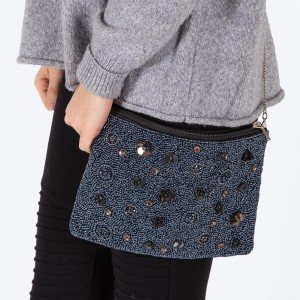 """High quality hematite seed beaded handbag with sequins flowers and rhinestone details.  - Zipper closure - One inside open pocket - Inside lining 100% Cotton - Approximately 10.5"""" W x 7"""" T - Strap approximately 52"""" L - Approximately 62"""" L overall - 40% Seed beads, 40% Cotton Canvas, 20% Metal"""