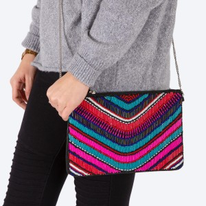 """High quality multicolor stripe seed beaded handbag.  - Zipper closure - One inside open pocket - Inside lining 100% Cotton - Approximately 10.5"""" W x 7"""" T - Strap approximately 52"""" L - Approximately 62"""" L overall - 40% Seed beads, 40% Cotton Canvas, 20% Metal"""