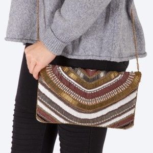 "High quality multicolor stripe seed beaded handbag.  - Fold over snap button closure - One inside open pocket - Inside lining 100% Cotton - Approximately 10.5"" W x 6"" T - Strap approximately 52"" L - Approximately 62"" L overall - 40% Seed beads, 40% Cotton Canvas, 20% Metal"