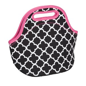 Neoprene quatrefoil print insulated lunch bag with pink trim featuring top zip closure. Keeps food warm or cold up to 4 hours. Machine washable.