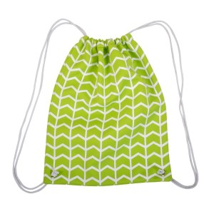 "Neoprene drawstring bag with a lime green and white pattern. Perfect for monogramming! This bag measures 14"" x 18"" and has a 22"" strap drop with open."