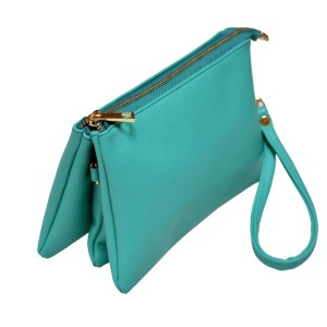 Multi-compartment turquoise clutch comes with detachable wristlet strap and adjustable cross-body strap. Main top zipper encloses 3 interior compartments with 6 credit card slots and center compartment with it's own top zipper. Made of PU leather and is easy wipe clean. Perfect for adding your own monogram. Measures 8.25 x 5.25 x 4.