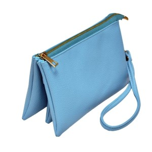 Multi-compartment aqua blue clutch comes with detachable wristlet strap and adjustable cross-body strap. Main top zipper encloses 3 interior compartments with 6 credit card slots and center compartment with it's own top zipper. Made of PU leather and is easy wipe clean. Perfect for adding your own monogram. Measures 8.25 x 5.25 x 4.