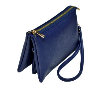 Multi-compartment navy blue clutch comes with detachable wristlet strap and adjustable cross-body strap. Main top zipper encloses 3 interior compartments with 6 credit card slots and center compartment with it's own top zipper. Made of PU leather and is easy wipe clean. Perfect for adding your own monogram. Measures 8.25 x 5.25 x 4.