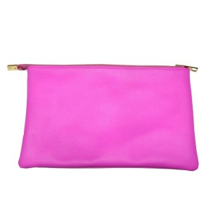 Pink zipper pouch featuring an exterior zippered pocket and 3 additional interior pockets for stowing essentials and devices. Made of PU leather and is perfect for monogramming! Measures 10.5 x 6.75 x 0.5.