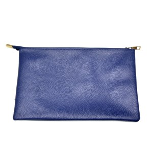 Navy blue zipper pouch featuring an exterior zippered pocket and 3 additional interior pockets for stowing essentials and devices. Made of PU leather and is perfect for monogramming! Measures 10.5 x 6.75 x 0.5.