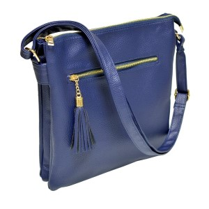 Navy blue cross body bag features a front zipper pocket with three inner compartments and adjustable strap. The inside has two small pockets and one small zipper compartment. This bag is perfect for monograming, made of PU leather, and measures 10 x 11 x 2.5.