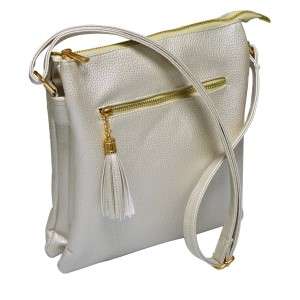 Metallic pearl cross body bag features a front zipper pocket with three inner compartments and adjustable strap. The inside has two small pockets and one small zipper compartment. This bag is perfect for monograming, made of PU leather, and measures 10 x 11 x 2.5.