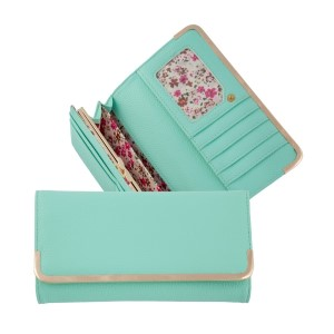 "Mint green bi-fold wallet with a snap closure and gold tone hardware. Approximately 8"" x 4"" x 1"""