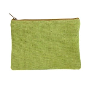 "Green burlap pouch with top zipper closure and lined inside. Approximately 7"" tall x 9"" wide. Great for monogramming!"