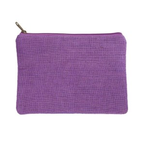 """Purple burlap pouch with top zipper closure and lined inside. Approximately 7"""" tall x 9"""" wide. Great for monogramming!"""