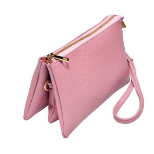 "Multi-compartment rose pink clutch comes with detachable wristlet strap and adjustable cross-body strap. Main top zipper encloses 3 interior compartments with six credit card slots. Made of faux leather and is perfect for adding your own monogram. Measures 8.25"" x 5.25"" x 4."""