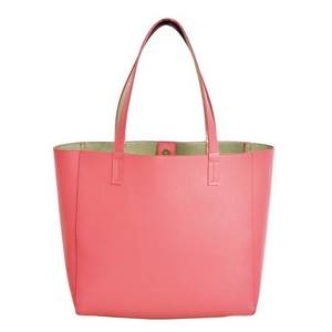 "Coral, faux leather tote bag with a gold lining, double straps, and a magnetic closure. Measures approximately 18"" x 13"" x 6"" and is perfect for monogramming!"