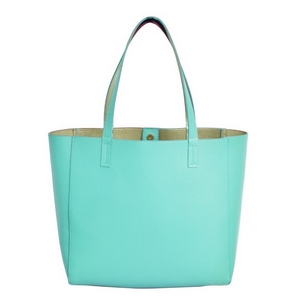 """Mint green, faux leather tote bag with a gold lining, double straps, and a magnetic closure. Measures approximately 18"""" x 13"""" x 6"""" and is perfect for monogramming!"""
