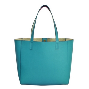"Turquoise, faux leather tote bag with a gold lining, double straps, and a magnetic closure. Measures approximately 18"" x 13"" x 6"" and is perfect for monogramming!"
