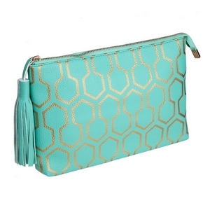 "Mint green pouch with a printed gold pattern and a tassel zipper pull. Made of faux leather, measures 12"" x 7.5"" x 1 and is perfect for monogramming!"