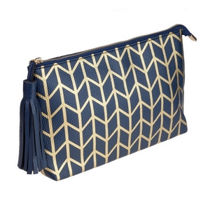 """Navy blue pouch with a printed gold pattern and a tassel zipper pull. Made of faux leather, measures 12"""" x 7.5"""" x 1 and is perfect for monogramming!"""