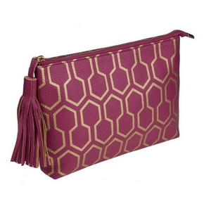 "Plum pouch with a printed gold pattern and a tassel zipper pull. Made of faux leather, measures 12"" x 7.5"" x 1 and is perfect for monogramming!"