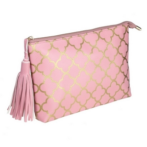 "Rose pink pouch with a printed gold pattern and a tassel zipper pull. Made of faux leather, measures 12"" x 7.5"" x 1 and is perfect for monogramming!"